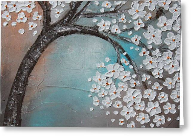Cherry Blossoms Paintings Greeting Cards - Blossom cherry Greeting Card by Home Art