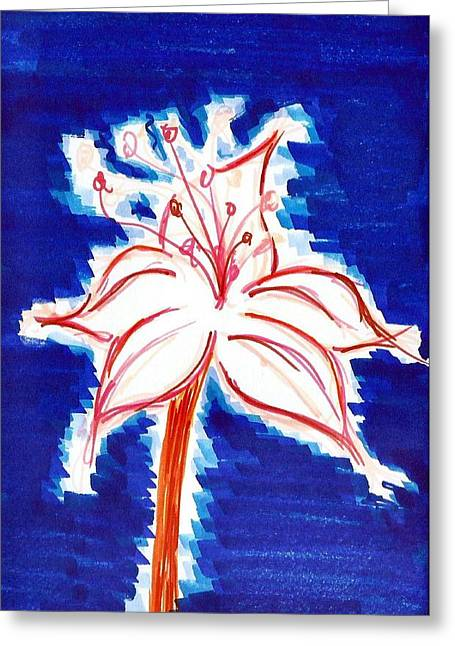 Water Lilly Mixed Media Greeting Cards - Blossomed Fire Greeting Card by Allyson Andrewz