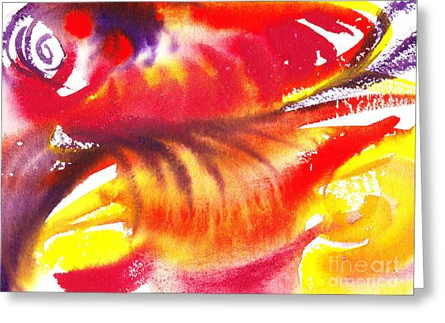 Hotel Lobby Greeting Cards - Blossoming Flames Abstract  Greeting Card by Irina Sztukowski
