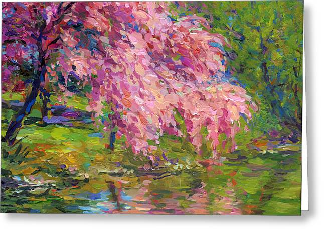 Pink Blossoms Greeting Cards - Blossoming trees landscape  Greeting Card by Svetlana Novikova
