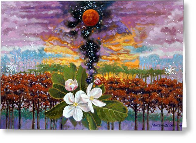 Stars Fall Greeting Cards - Blossoming Universe Greeting Card by John Lautermilch