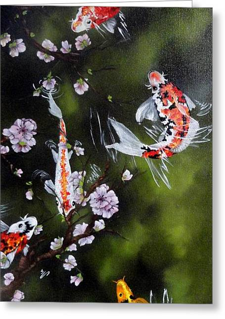 Blossoms And Koi Greeting Card by Carol Avants