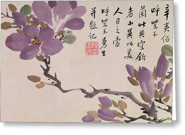 Asia Drawings Greeting Cards - Blossoms Greeting Card by Chen Hongshou