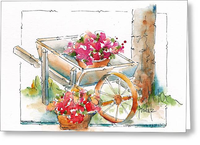 Sepia Ink Greeting Cards - Blossoms To Go Greeting Card by Pat Katz