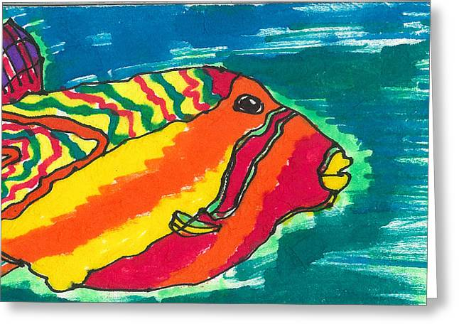 Puffer Mixed Media Greeting Cards - Blowfish Greeting Card by Don Koester