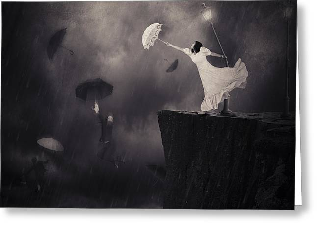 Abstract Rain Greeting Cards - Blowin In The Wind Greeting Card by Erik Brede