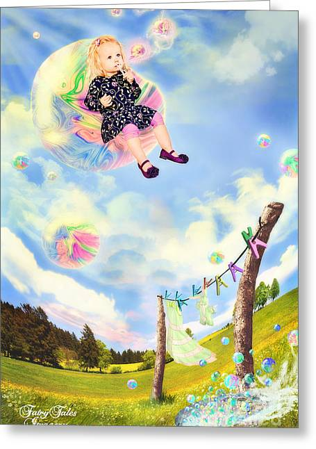 Youthful Digital Greeting Cards - Blowing Bubbles Greeting Card by Fairy Tales Imagery Inc