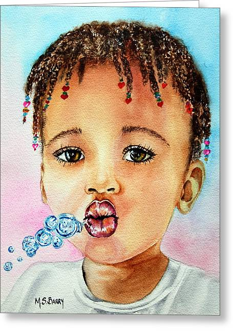 Braided Hair Greeting Cards - Blowing Bubbles Greeting Card by Maria Barry