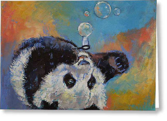 Giant Panda Greeting Cards - Blowing Bubbles Greeting Card by Michael Creese