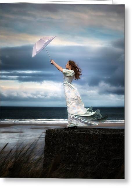 Woman Waiting Greeting Cards - Blowing In The Wind Greeting Card by Joana Kruse