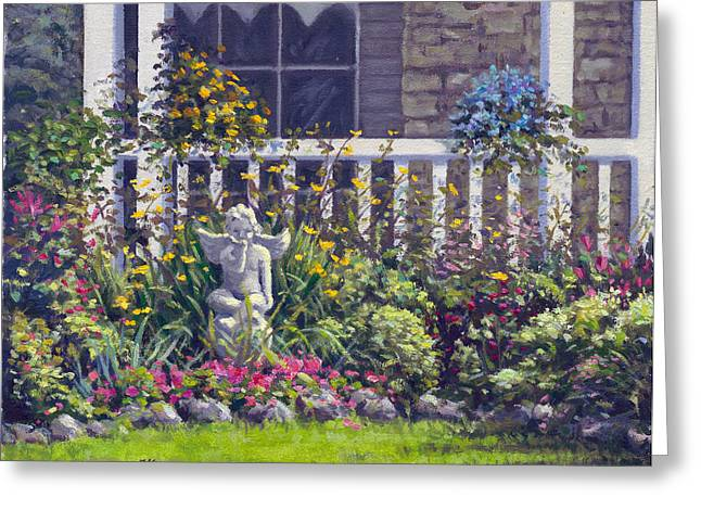 Award Winning Art Greeting Cards - Blowing Kisses in the Garden Greeting Card by Rick Hansen