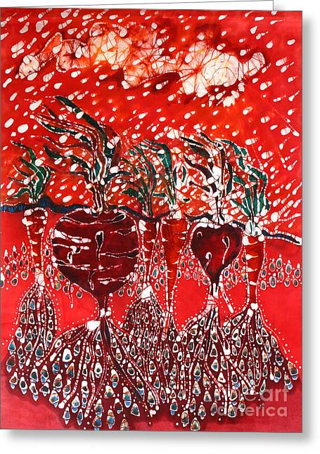 Roots Tapestries - Textiles Greeting Cards - Blowing Rain on Garden Greeting Card by Carol Law Conklin