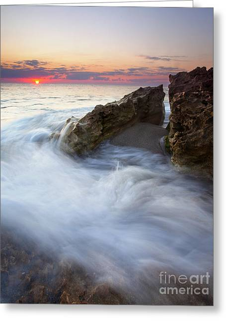 Blowing Greeting Cards - Blowing Rocks Sunrise Greeting Card by Mike  Dawson