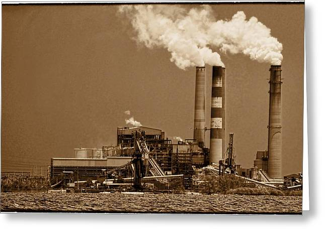 Power Plants Greeting Cards - Blowing Smoke Greeting Card by Pamela Blizzard