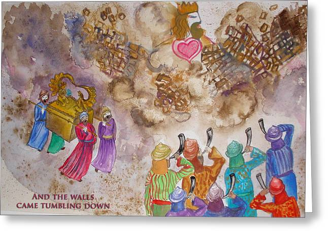 Anne Cameron Cutri Greeting Cards - Blowing the Shofar at Jericho with words Greeting Card by Anne Cameron Cutri