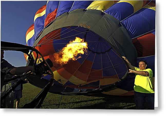 Blowing Up Greeting Card by Andy Crawford