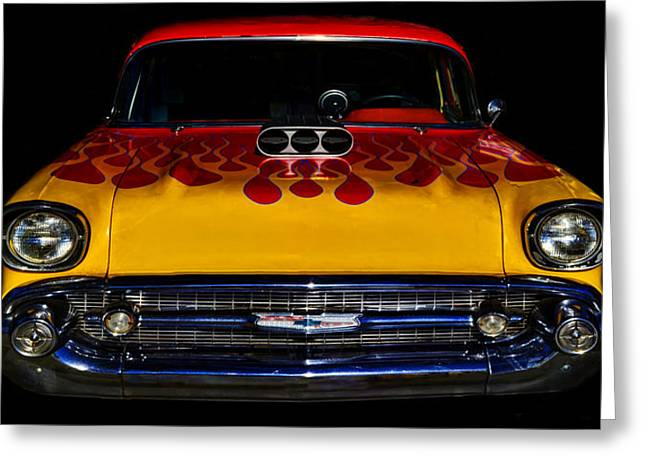 Blown 57 Chevy Greeting Card by Ken Smith