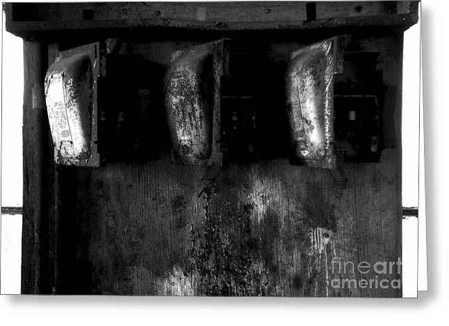 Blown Fuses - Bw Greeting Card by James Aiken