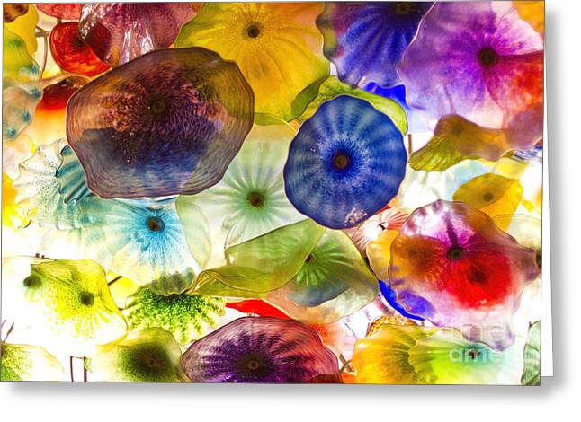 Chihuly Glass Greeting Cards - Blown Glass flowers and umbrellas in varied colors Greeting Card by ELITE IMAGE photography By Chad McDermott