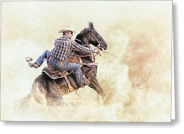 Roping Horse Greeting Cards - Blown Spur Greeting Card by Ron  McGinnis