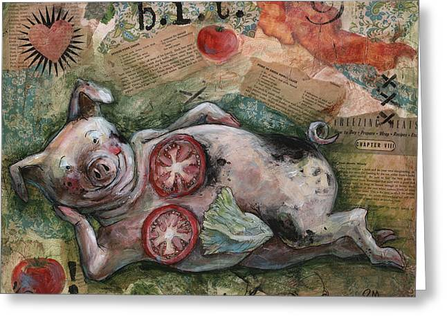 Sexy Pig Greeting Cards - BLT and A Greeting Card by Patti Mann