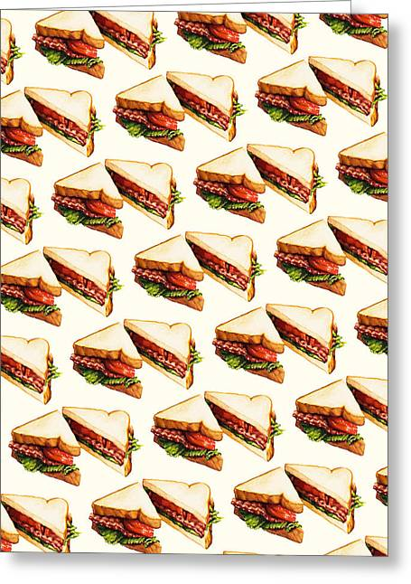 Traditional Media Greeting Cards - BLT Pattern Greeting Card by Kelly Gilleran