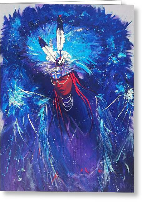 Fancy-dancer Paintings Greeting Cards - Blu Fancy Greeting Card by Donald Brewer