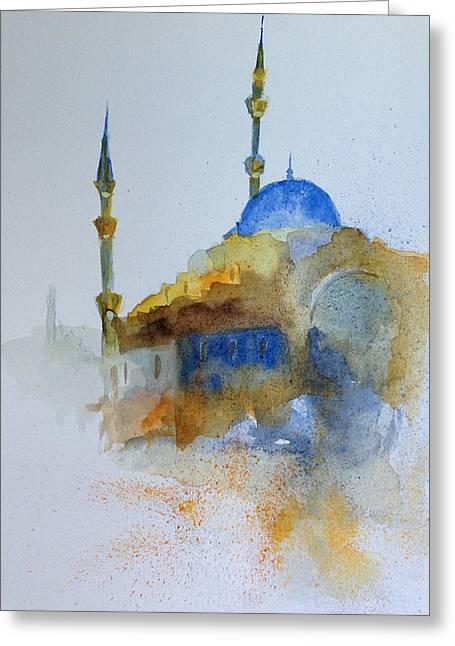 Blu Mosque Greeting Card by Gianni Raineri