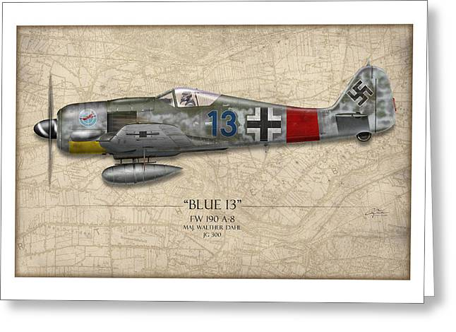 Long Nose Greeting Cards - Blue 13 Focke-Wulf FW 190 - Map Background Greeting Card by Craig Tinder