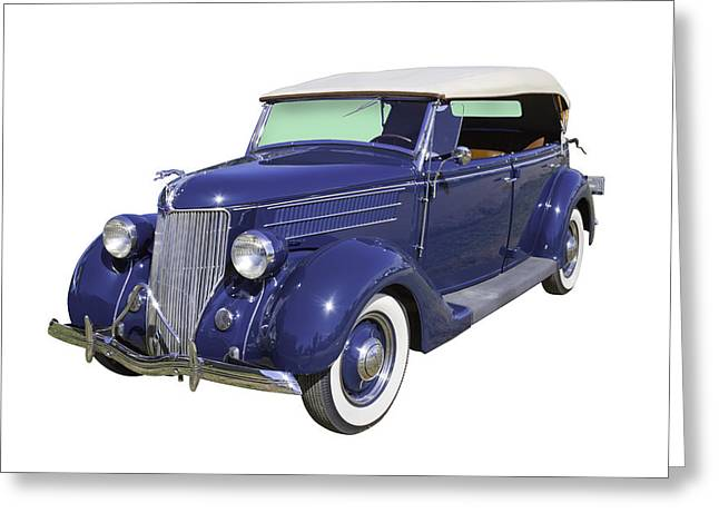 Blue Ford Greeting Cards - Blue 1936 Ford Phaeton Convertible  Greeting Card by Keith Webber Jr