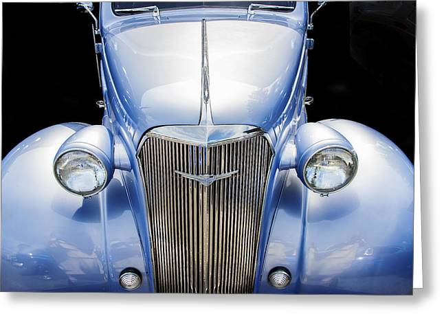 1937 Chevy Greeting Cards - Blue 1937 Chevy Too Greeting Card by Rich Franco