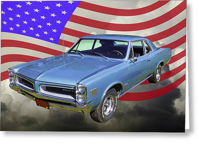 Sporty Greeting Cards - Blue 1966 Pointiac Lemans And American Flag  Greeting Card by Keith Webber Jr