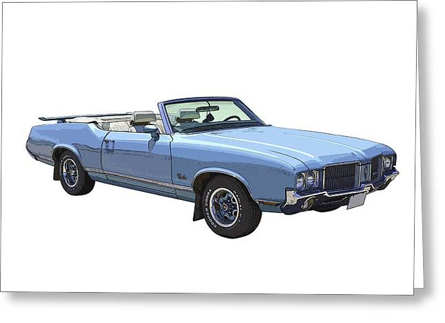 Blue Car. Greeting Cards - Blue 1971 Oldsmobile Cutlass Supreme Convertible Greeting Card by Keith Webber Jr