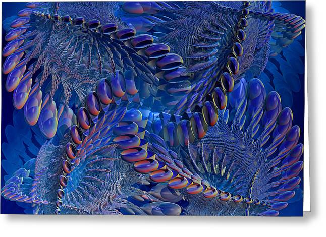 Best Sellers -  - Geometric Digital Art Greeting Cards - Blue 3 Greeting Card by Deborah Benoit