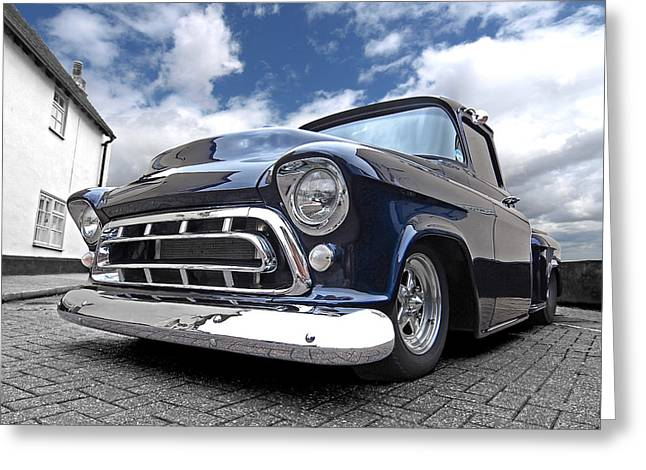 White Truck Greeting Cards - Blue 57 Stepside Chevy Greeting Card by Gill Billington