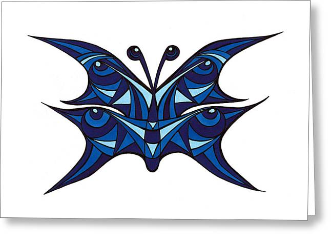 Butterlfy Greeting Cards - Blue Abstract Butterfly Greeting Card by Margit Brack