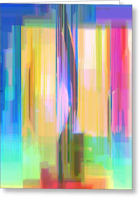 Shower Curtain Greeting Cards - Blue Abstract  Greeting Card by Rafael Salazar