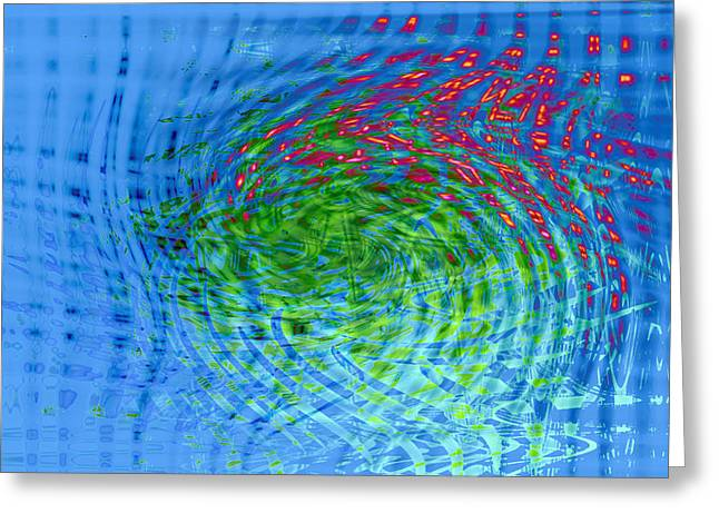Blue Abstract Reflections And Algae Greeting Card by Frank Tschakert
