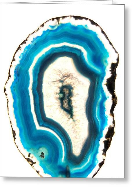 Agate Greeting Cards - Blue Agate Greeting Card by Gina Dsgn