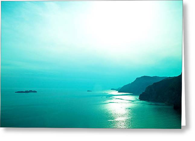 Beach View Greeting Cards - Blue Amalfi Sea Greeting Card by Susan  Schmitz