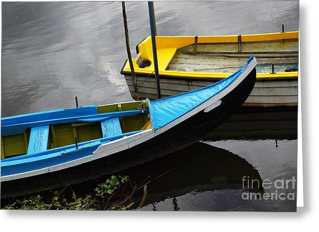 Canoe Greeting Cards - Blue and Yellow Boats Greeting Card by Carlos Caetano