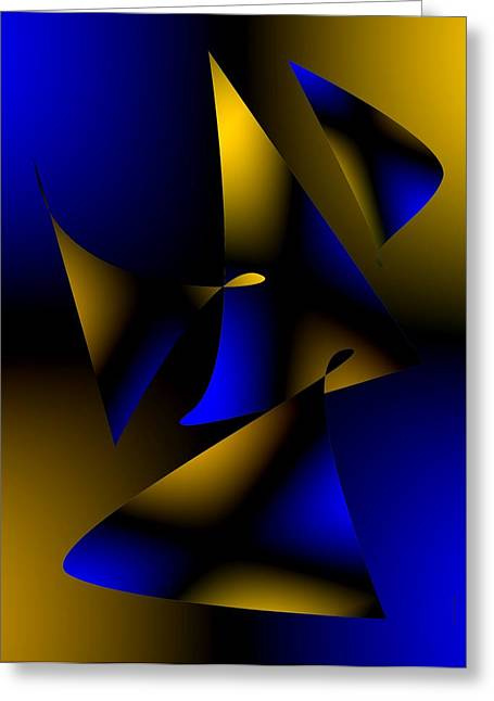 Blue And Brown Abstract Design Greeting Card by Mario Perez