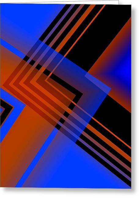 Geometric Greeting Cards - Blue and brown combination Greeting Card by Mario  Perez