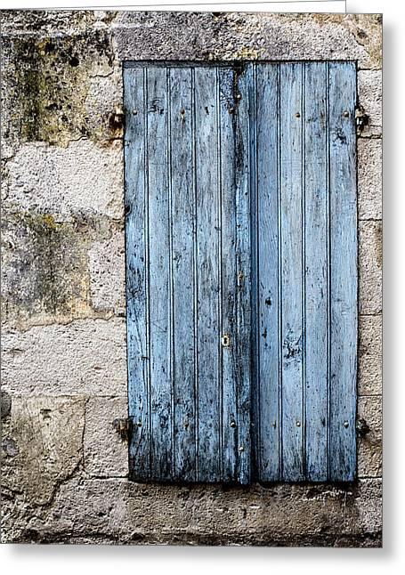 French Windows Greeting Cards - Blue and Closed Greeting Card by Nomad Art And  Design