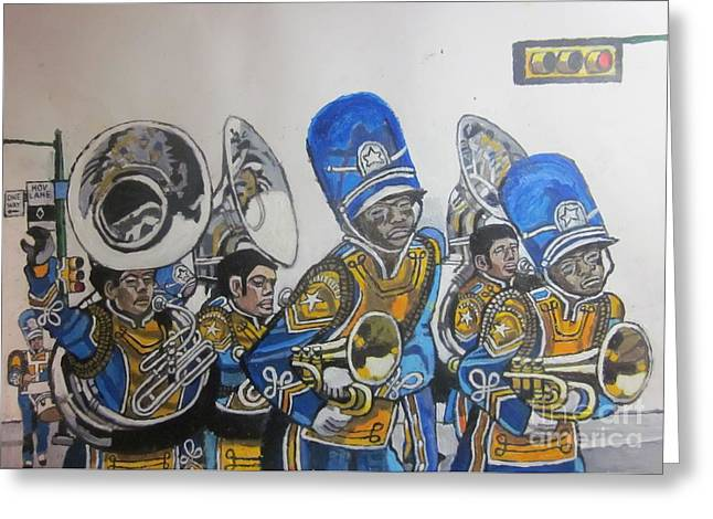 Marching Band Greeting Cards - Blue and Gold Band Greeting Card by Patrick Closser
