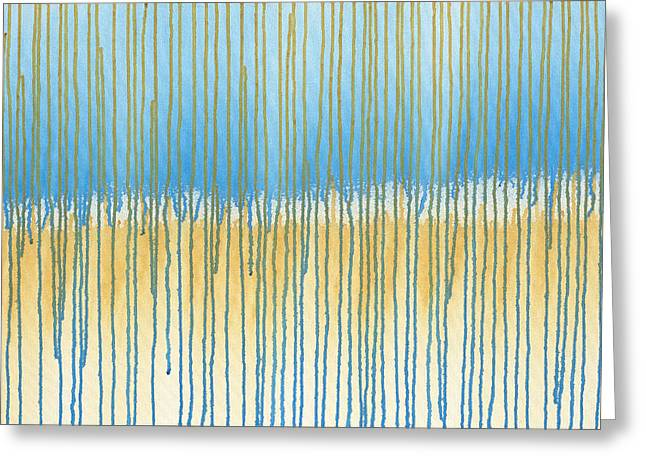 Rain Streaked Window Greeting Cards - Blue and Gold Greeting Card by Lynn Hansen