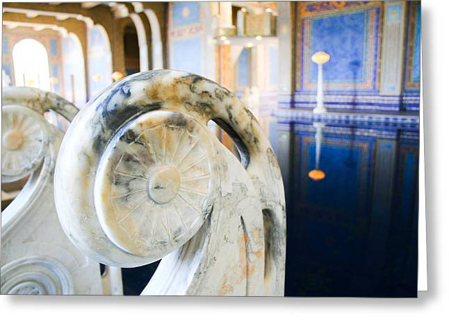 Laura Palmer Greeting Cards - Blue and gold marble in a Turkish-style pool Greeting Card by Laura Palmer