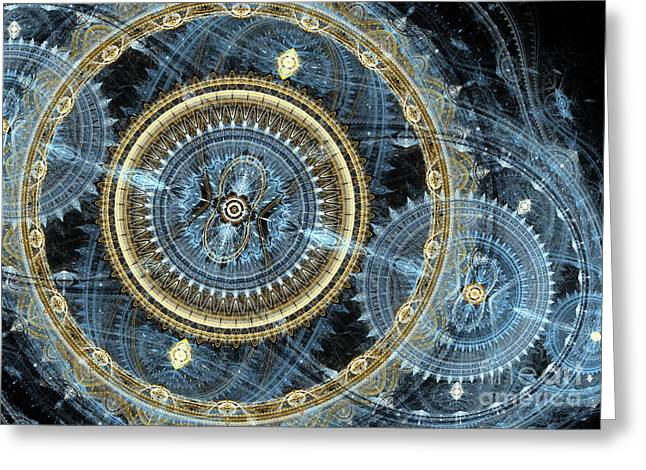 Industrial Background Digital Art Greeting Cards - Blue and gold mechanical abstract Greeting Card by Martin Capek