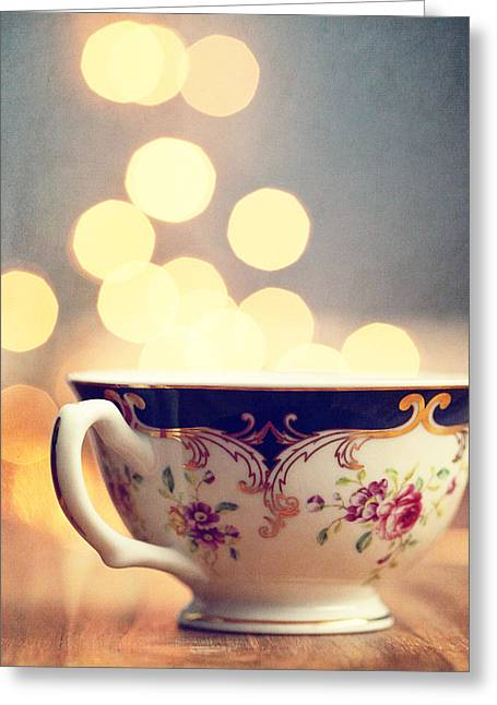 Dreamy Food Photography Greeting Cards - Blue and Gold Steamer Greeting Card by Amelia Matarazzo