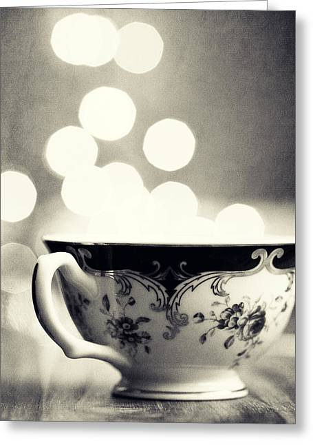 Dreamy Food Photography Greeting Cards - Blue and Gold Steamer in Black and White Greeting Card by Amelia Matarazzo